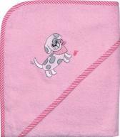 Kapuzenhandtuch pink mit Hund